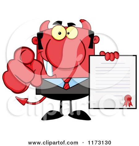 Cartoon of a Devil Businessman Pointing Outwards and Holding a Contract - Royalty Free Vector Clipart by Hit Toon