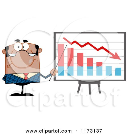 Cartoon of a Black Unhappy Businessman Presenting a Decline Statistics Graph - Royalty Free Vector Clipart by Hit Toon