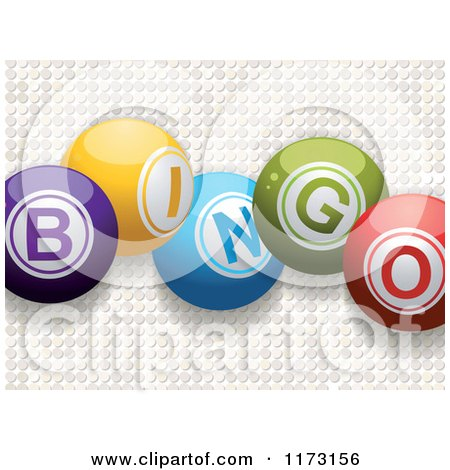 Clipart of 3d Colorful Bingo Balls over White Mosaic - Royalty Free Vector Illustration by elaineitalia