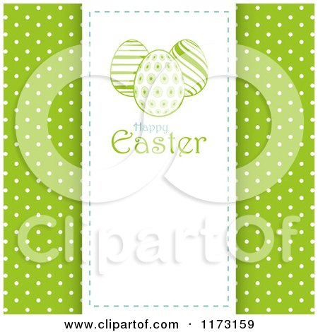 Clipart of a Happy Easter Panel with Eggs over Green with White Polka Dots - Royalty Free Vector Illustration by elaineitalia
