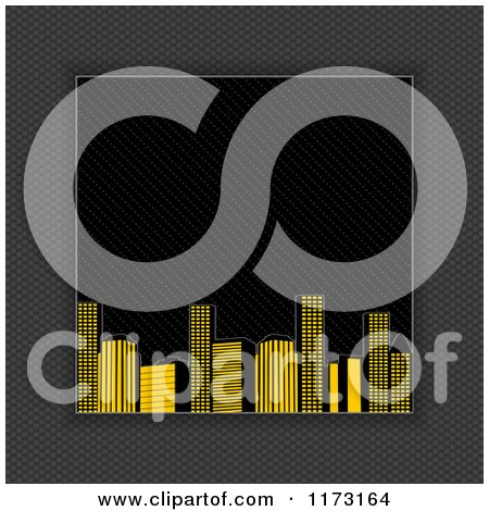 Clipart of a Raised City Bordered with Carbon Fiber - Royalty Free Vector Illustration by elaineitalia