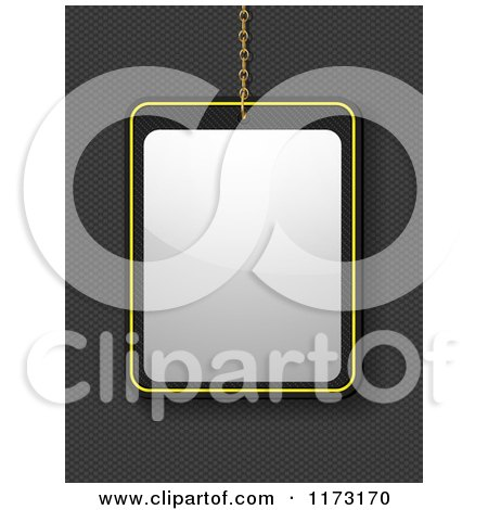 Clipart of a Suspended Blank Sign over Carbon Fiber - Royalty Free Vector Illustration by elaineitalia