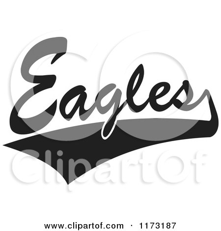 Clipart of a Black and White Tailsweep and Eagles Sports Team Text - Royalty Free Vector Illustration by Johnny Sajem
