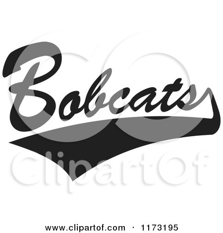 Clipart of a Black and White Tailsweep and Bobcats Sports Team Text - Royalty Free Vector Illustration by Johnny Sajem