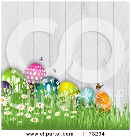 Clipart of Easter Eggs Butterflies Flowers and Grass Against a White Wooden Fence - Royalty Free Vector Illustration by KJ Pargeter