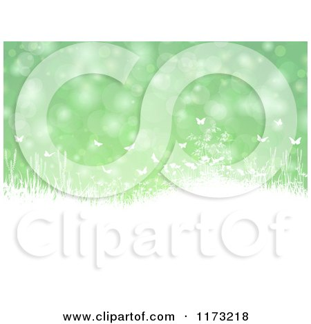 Clipart of Silhouetted White Plants and Butterflies over Green Flares - Royalty Free Vector Illustration by KJ Pargeter