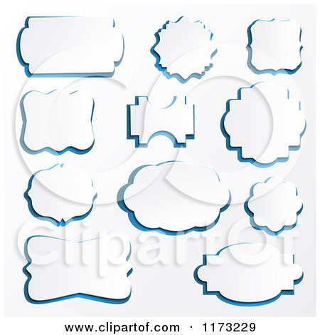 Clipart of a Frames with Blue Outlines on Shaded White - Royalty Free Vector Illustration by vectorace