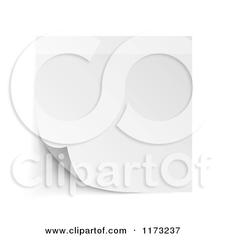 Clipart of a Curling White Sticky Note with Shadows on White - Royalty Free Vector Illustration by vectorace