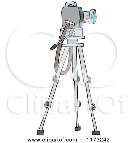Cartoon of a Camera on a Tripod Stand - Royalty Free Vector Clipart by djart