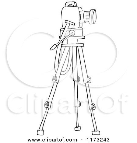 Cartoon Of A Camera On A Tripod Stand Royalty Free