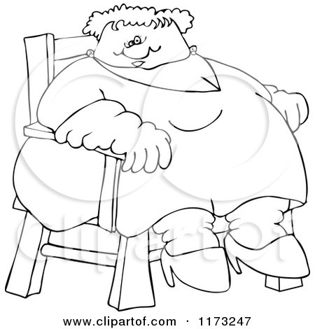 Cartoon of an Outlined Circus Freak Fat Lady Sitting in a Chair - Royalty Free Vector Clipart by djart