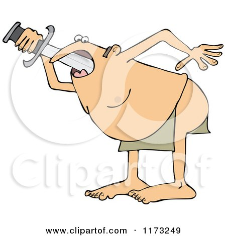 Cartoon Of A Circus Side Show Sword Swallower Man Royalty Free Vector Clipart