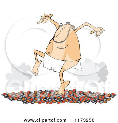 Cartoon of a Circus Side Show Performer Man Walking on Hot Coals - Royalty Free Vector Clipart by djart