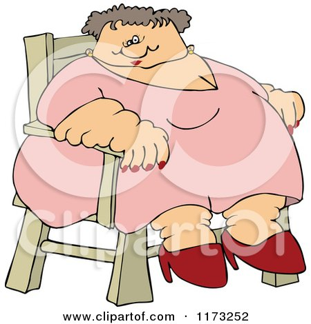 Cartoon Of A Circus Freak Fat Lady Sitting In A Chair Royalty Free Vector Clipart
