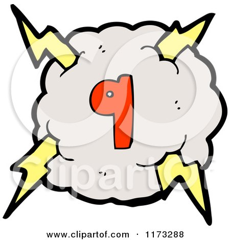 Cartoon of Cloud with Lightning Bolts and Number Nine ...