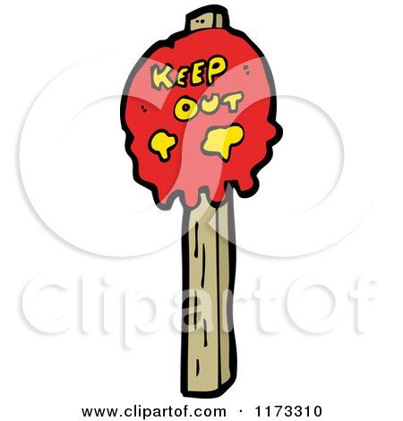 Cartoon of a Keep out Skull Sign on a Wood Post - Royalty Free Vector Clipart by lineartestpilot