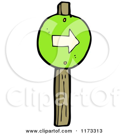 Cartoon of a Green Arrow Sign on a Wood Post - Royalty Free Vector Clipart by lineartestpilot