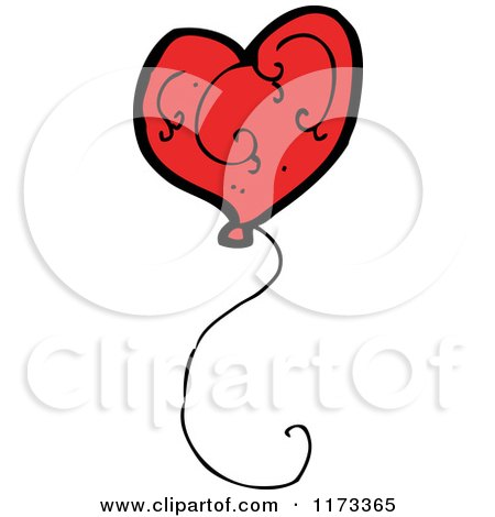 Cartoon of a Red Heart Balloon - Royalty Free Vector Clipart by lineartestpilot