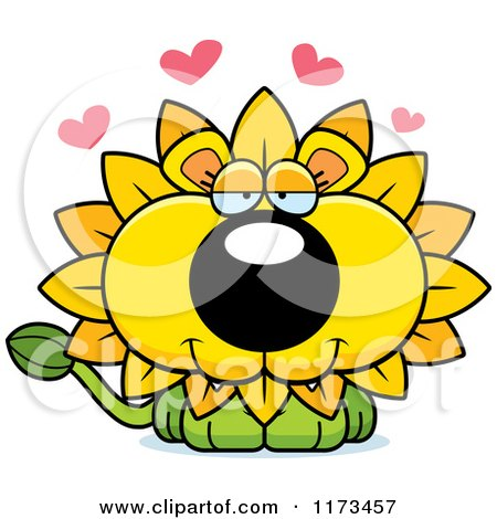 Cartoon of a Loving Dandelion Flower Lion Mascot - Royalty Free Vector Clipart by Cory Thoman