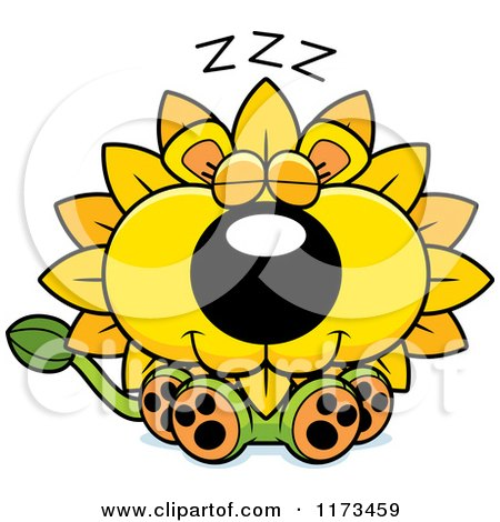 Cartoon of a Sleeping Dandelion Flower Lion Mascot - Royalty Free Vector Clipart by Cory Thoman