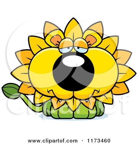 Cartoon of a Depressed Dandelion Flower Lion Mascot - Royalty Free Vector Clipart by Cory Thoman