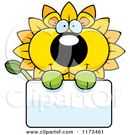 Cartoon of a Happy Dandelion Flower Lion Mascot over a Sign - Royalty Free Vector Clipart by Cory Thoman