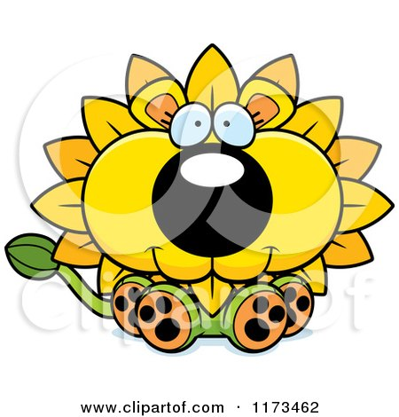 Cartoon of a Happy Sitting Dandelion Flower Lion Mascot - Royalty Free Vector Clipart by Cory Thoman