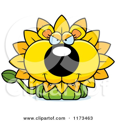 Cartoon of a Sly Dandelion Flower Lion Mascot - Royalty Free Vector Clipart by Cory Thoman