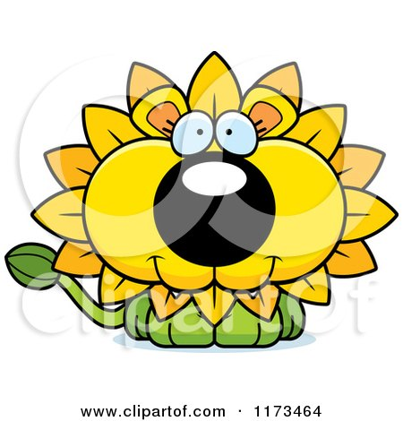 Cartoon of a Happy Dandelion Flower Lion Mascot - Royalty Free Vector Clipart by Cory Thoman