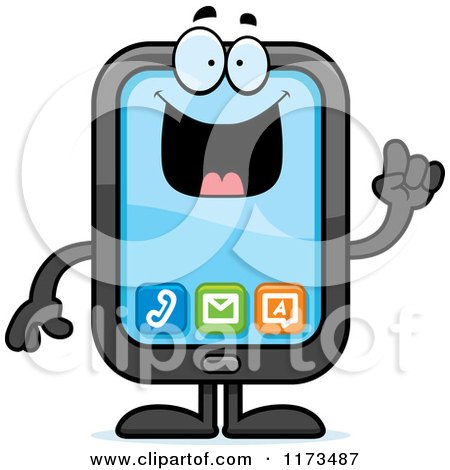 Cartoon of a Smart Smart Phone Mascot with an Idea - Royalty Free Vector Clipart by Cory Thoman