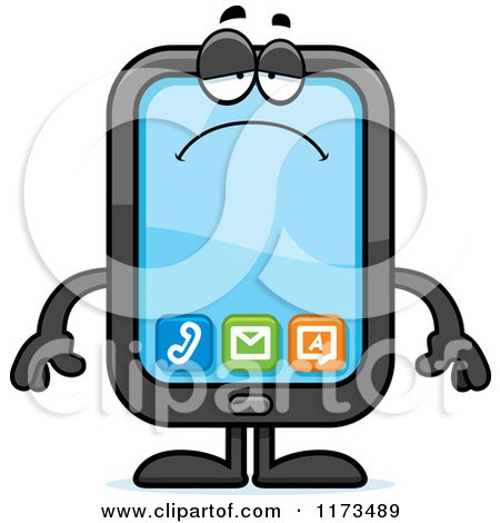 Cartoon of a Depressed Smart Phone Mascot - Royalty Free Vector Clipart by Cory Thoman