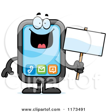 Cartoon of a Happy Smart Phone Mascot - Royalty Free Vector Clipart by Cory Thoman