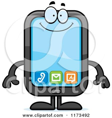 Cartoon of a Happy Smart Phone Mascot - Royalty Free Vector Clipart by Cory Thoman