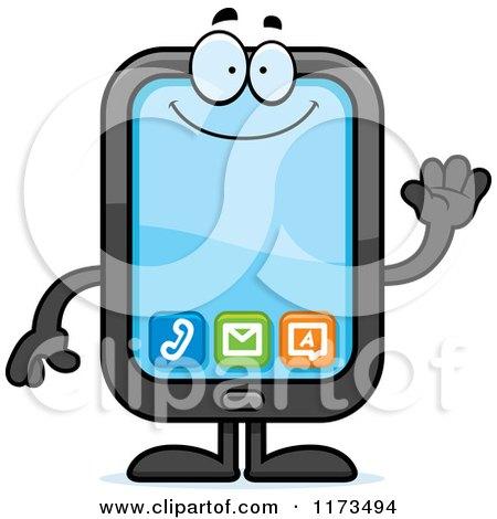Cartoon of a Waving Smart Phone Mascot - Royalty Free Vector Clipart by Cory Thoman