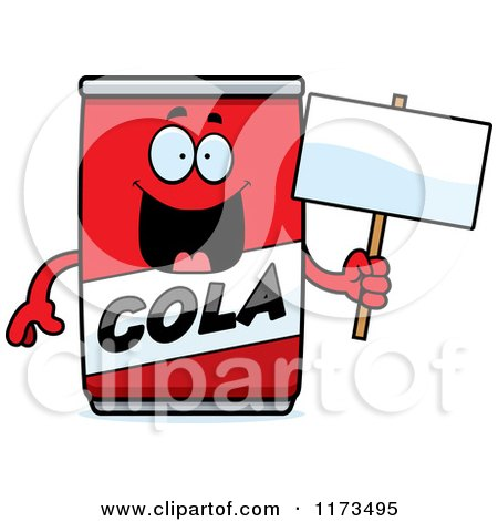 Cartoon of a Happy Cola Mascot Holding a Mascot - Royalty Free Vector Clipart by Cory Thoman