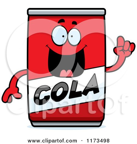 Cartoon of a Smart Cola Mascot with an Idea - Royalty Free Vector Clipart by Cory Thoman