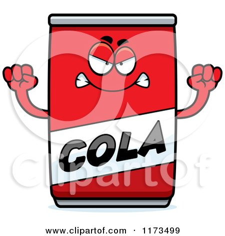 Cartoon of a Mad Cola Mascot - Royalty Free Vector Clipart by Cory Thoman