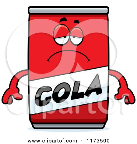 Cartoon of a Depressed Cola Mascot - Royalty Free Vector Clipart by Cory Thoman