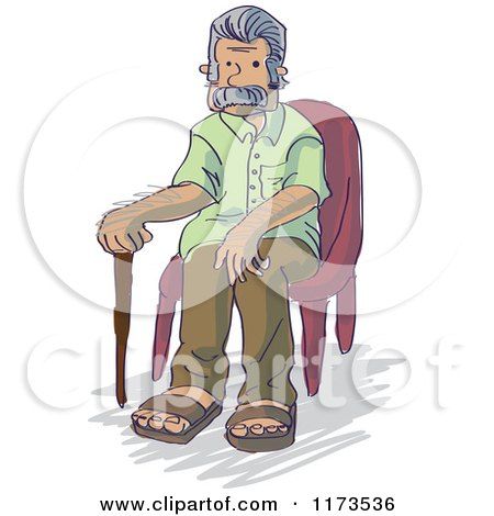 Cartoon of a Senior Grandpa Man Sitting in a Chair - Royalty Free Vector Clipart by Bad Apples
