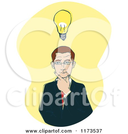 Cartoon of a Businessman Thinking with a Lightbulb on Yellow - Royalty Free Vector Clipart by Bad Apples