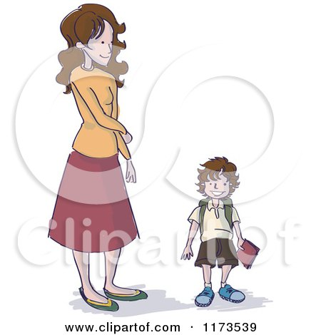 Cartoon of a Mother Looking down at Her Son While Waiting for the First Day of School - Royalty Free Vector Clipart by Bad Apples
