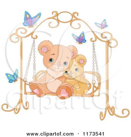 Cartoon of a Cute Teddy Bears Cuddling on a Bench Swing - Royalty Free Vector Clipart by Pushkin