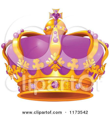 Cartoon of a Gold and Purple Crown with Amethyst Gems - Royalty Free Vector Clipart by Pushkin