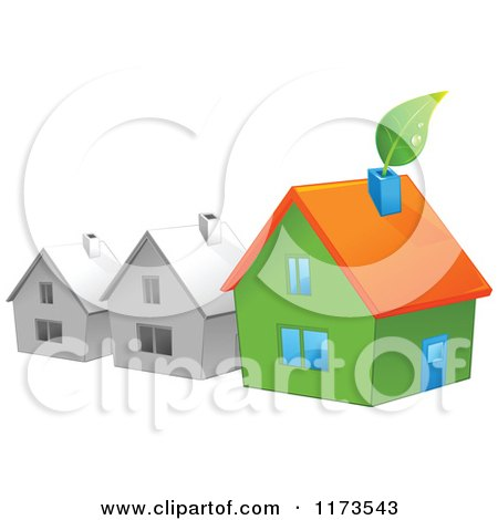 Cartoon of a Green House with a Leaf by Gray Houses - Royalty Free Vector Clipart by Pushkin