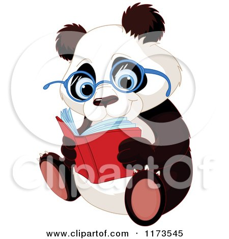 Cartoon of a Cute Panda Wearing Glasses and Reading - Royalty Free Vector Clipart by Pushkin