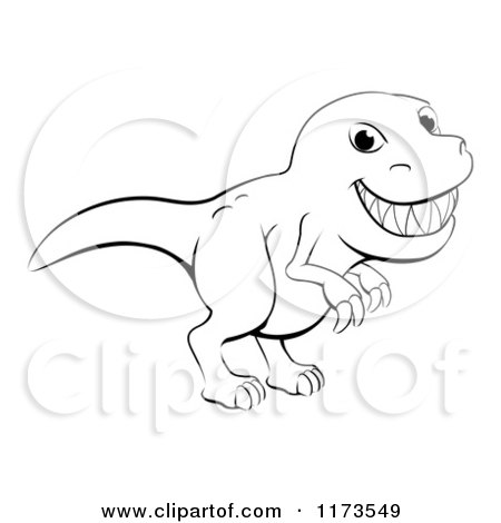 Cartoon Of A Black And White Grinning T Rex Outline