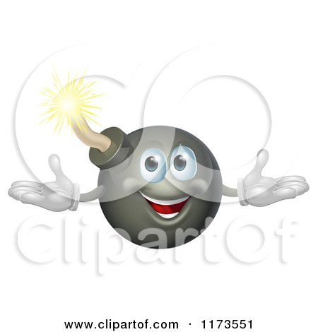 Cartoon of a Welcoming Happy Bomb Mascot - Royalty Free Vector Clipart by AtStockIllustration