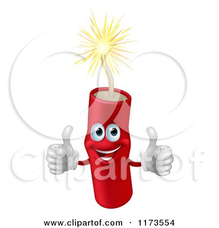 Cartoon of a Happy Lit Dynamite Mascot Holding Two Thumbs up - Royalty Free Vector Clipart by AtStockIllustration