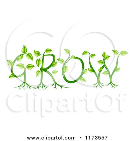 Clipart of Green Plants Forming the Word GROW - Royalty Free Vector Illustration by AtStockIllustration