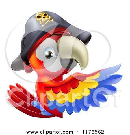 Cartoon of a Pirate Macaw Parrot Presenting a Sign - Royalty Free Vector Clipart by AtStockIllustration